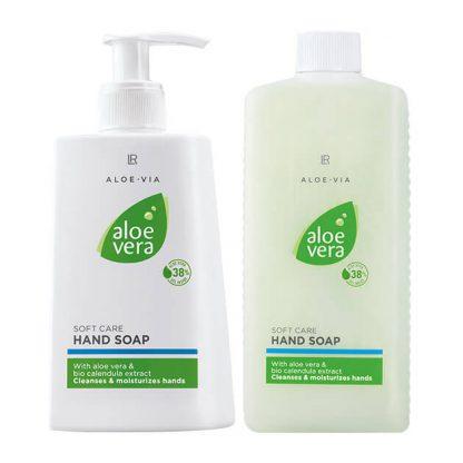 Aloe Vera zeepset Handzeep en navulpak Verzorgende crèmezeep voor de handen in dispenser met navulverpakking in een handige , voordeelige najaarsset. Reinigt en hydrateert - voor fluweelzachte handen.